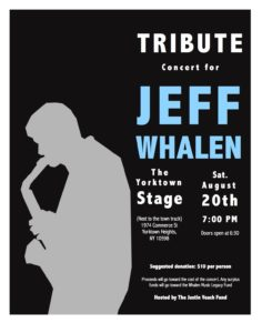 Tribute Concert for Jeff Whalen. Saturday, Aug. 20th, 2016. You are welcome to come